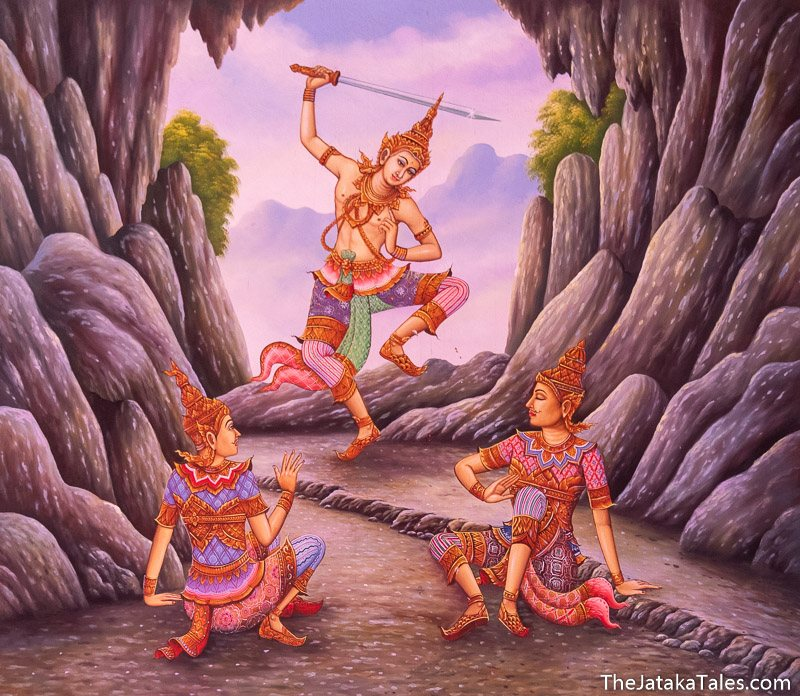 the Bodhisatta holding his sword