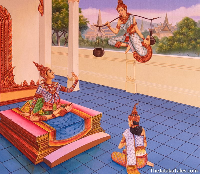the Bodhisatta down from heaven talking to the king