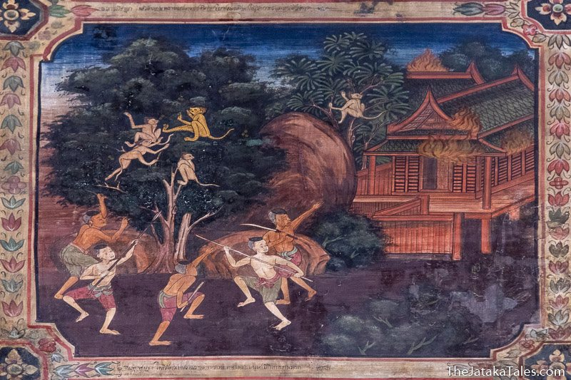 painting of monkeys in a tree while village burns