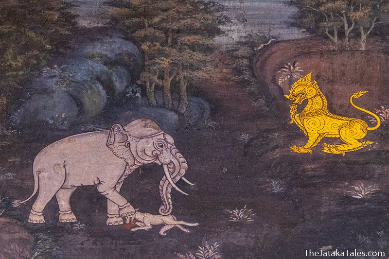 painting of Bodhisatta as a lion watching an elephant killing a jackal