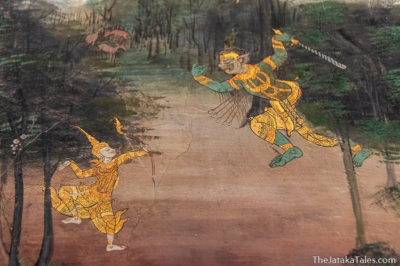 painting of Bodhisatta shooting arrows at an invincible ogre