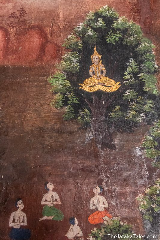 painting of Bodhisatta sitting in tree