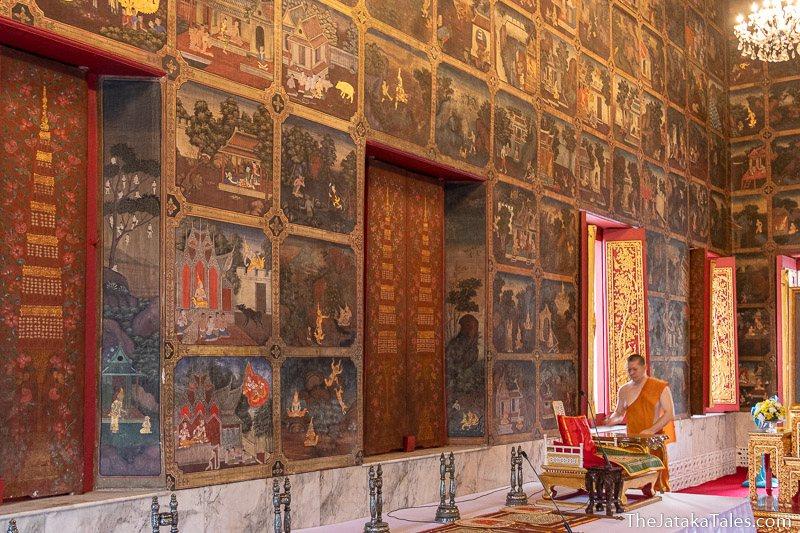paintings of jataka on wall of temple building