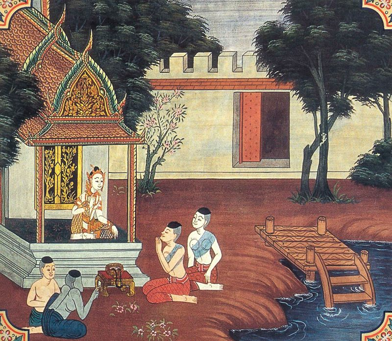 temple painting of Sabbasamharaka-Panha Jataka