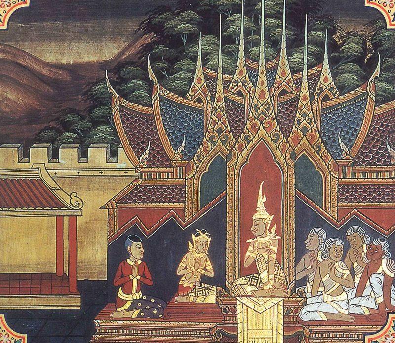 temple painting of Gadrabha-Panh Jataka
