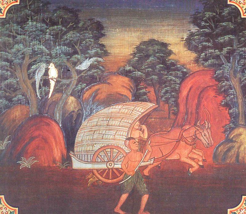 temple painting of Anusasika Jataka