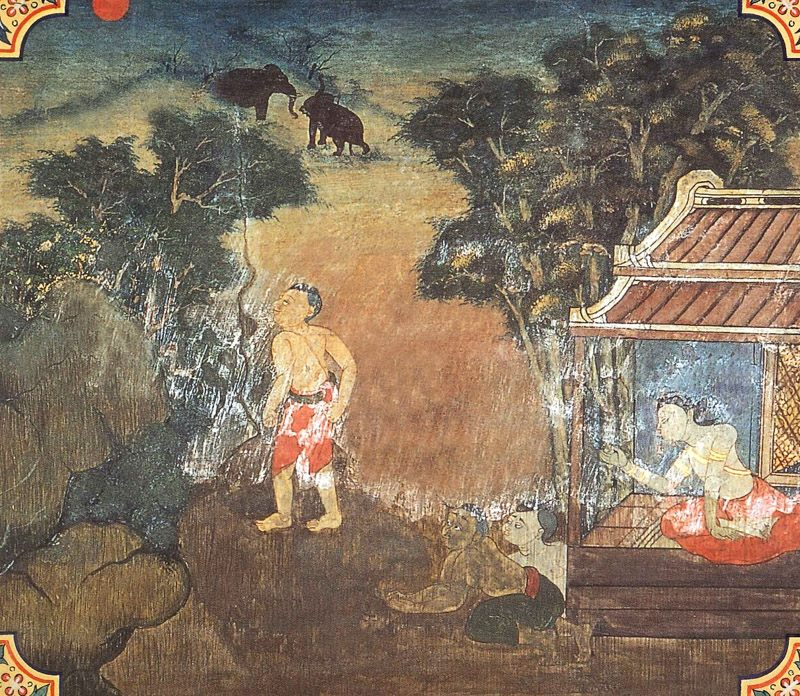 temple painting of Bandhanamokkha Jataka