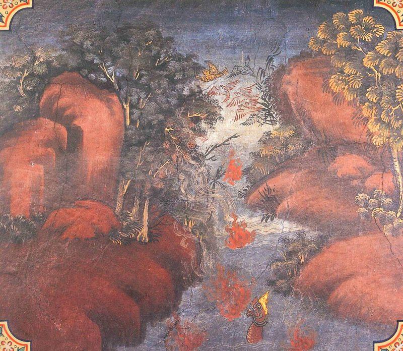 temple painting of Ghatasana Jataka
