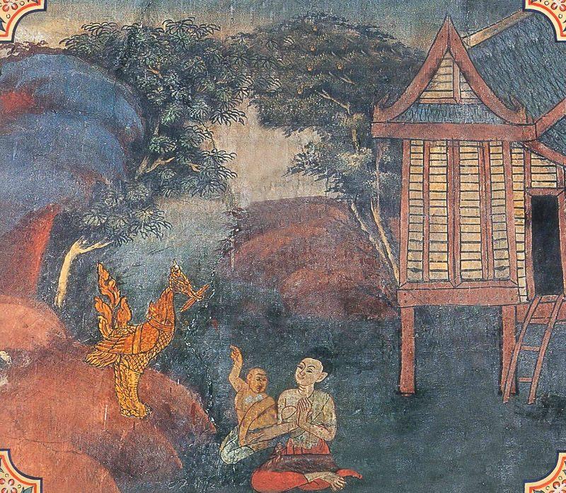temple painting of Suvannahamsa Jataka