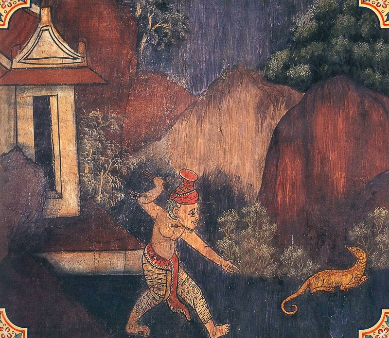 temple painting of Godha Jataka