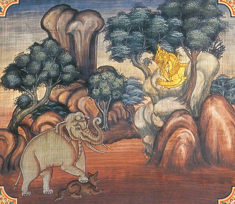 temple painting of Virocana Jataka