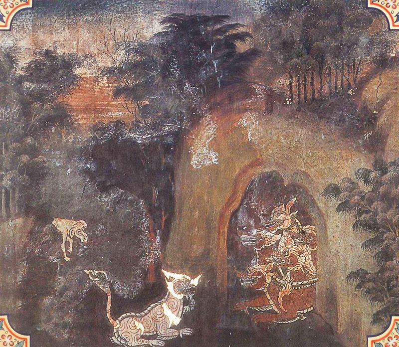 temple painting of Sigala Jataka