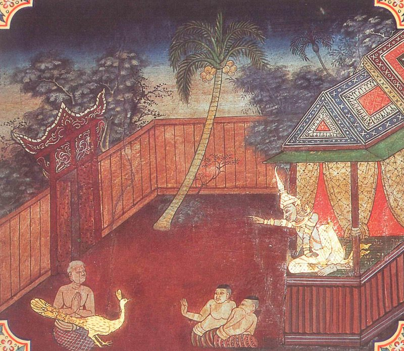 temple painting of Mora Jataka