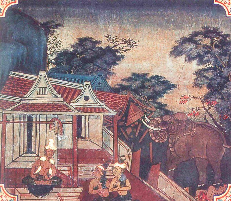 temple painting of Indasamanagotta Jataka