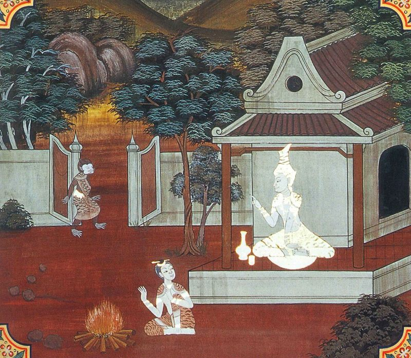 temple painting of Makkata Jataka