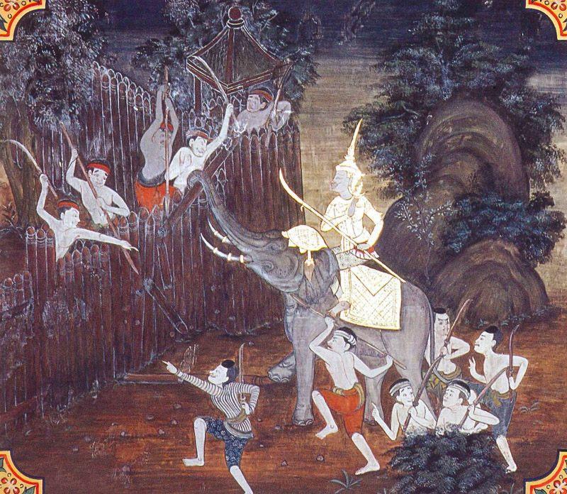 temple painting of Samgamavacara Jataka