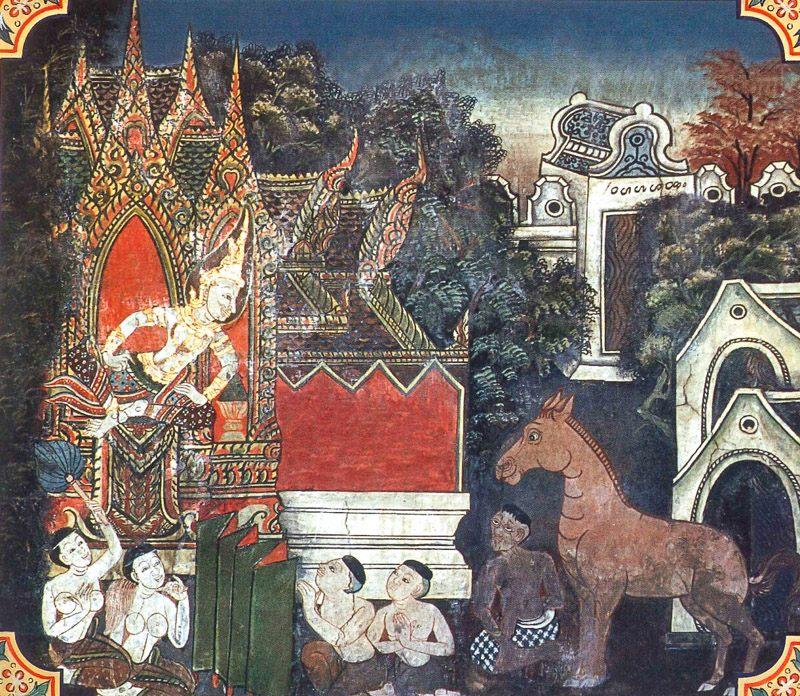 temple painting of Giridanta Jataka