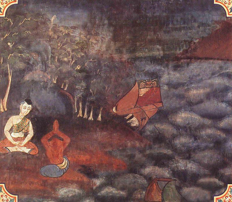 temple painting of Silanisamsa Jataka