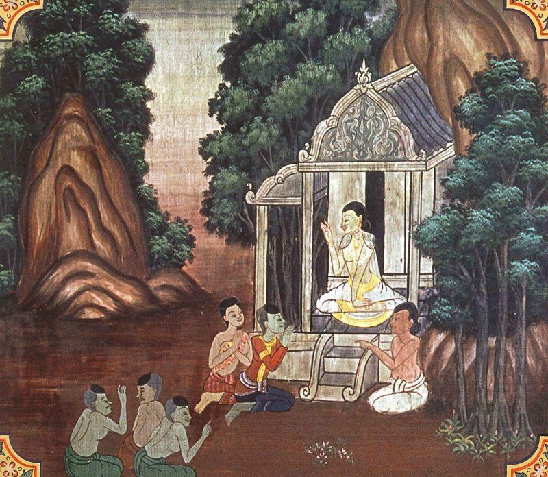 temple painting of Sadhusila Jataka
