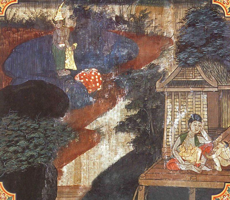 temple painting of Bandhanagara Jataka