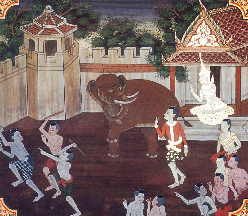 temple painting of Upahana Jataka
