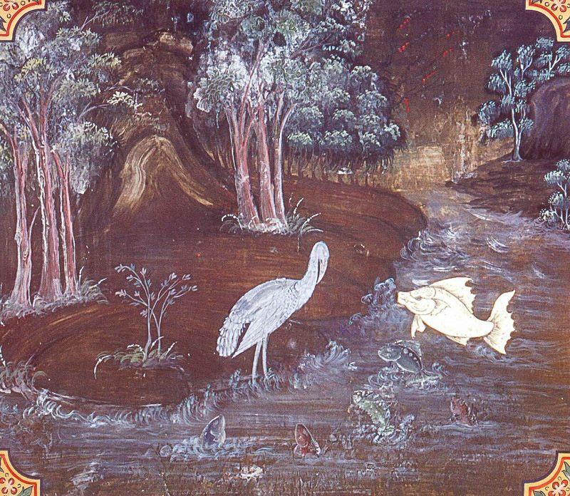 temple painting of Baka Jataka