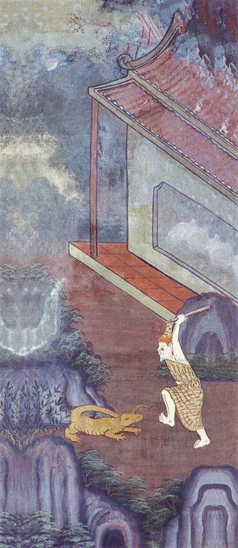 temple painting of Godha Jataka