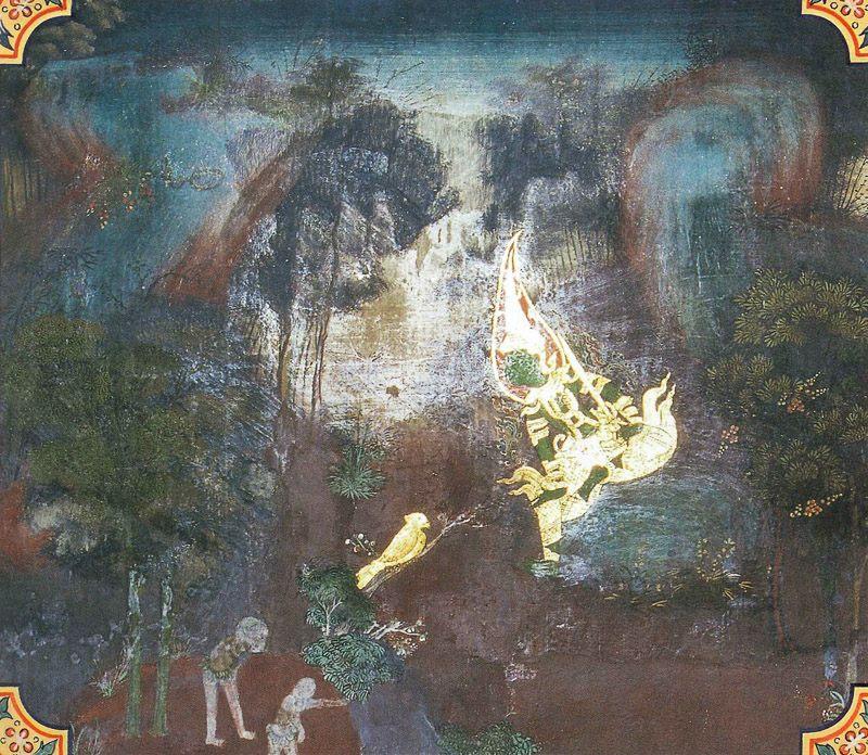 temple painting of Cullasuka Jataka