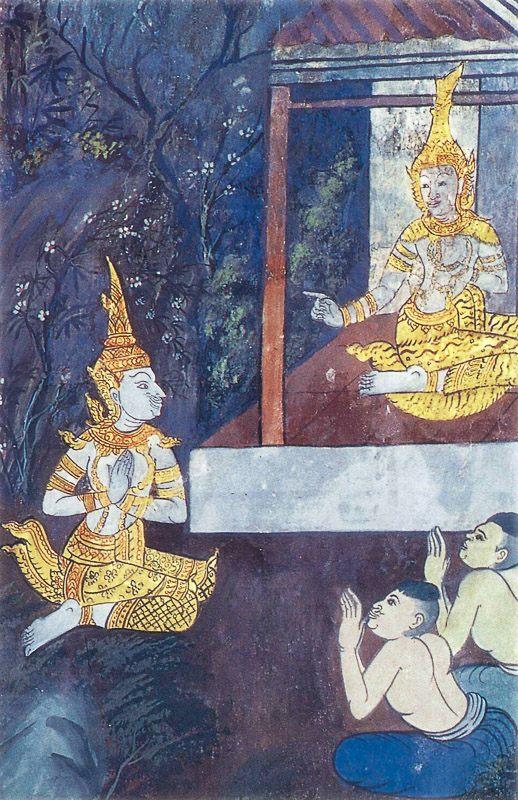 temple painting of Sarabhanga Jataka