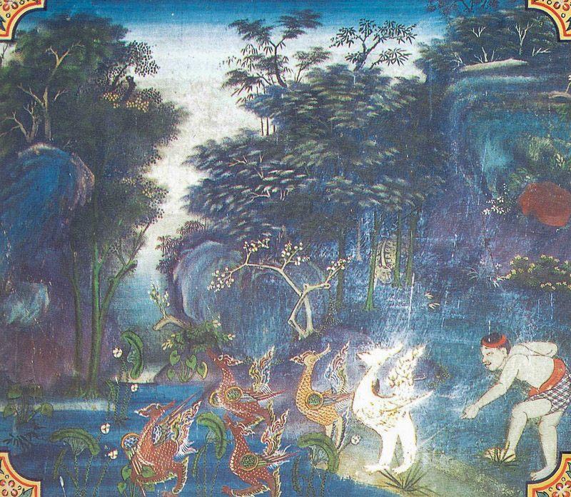 temple painting of Cullahamsa Jataka