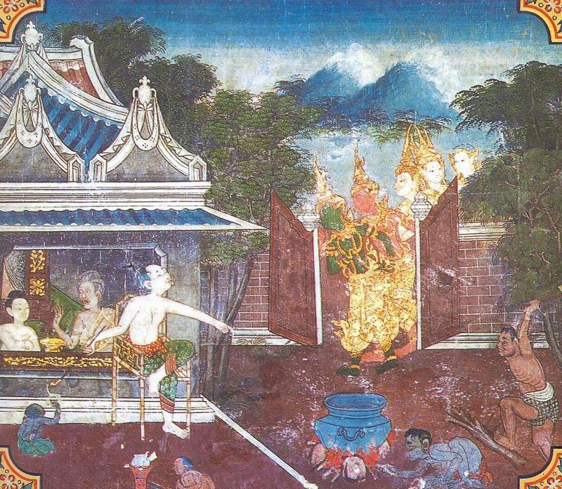 temple painting of Sudhabhojana Jataka