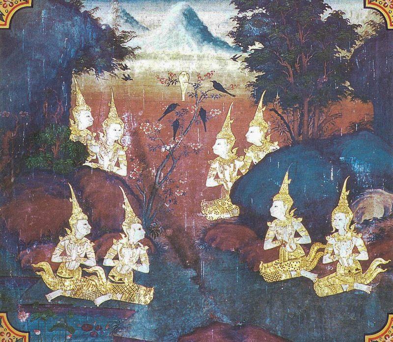 temple painting of Kunala Jataka