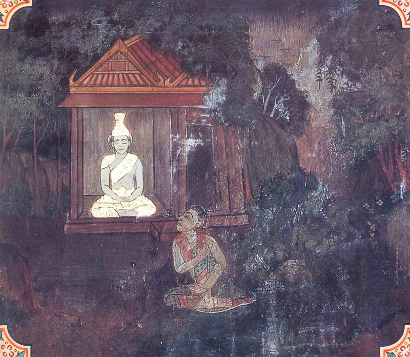 temple painting of Kuhaka Jataka