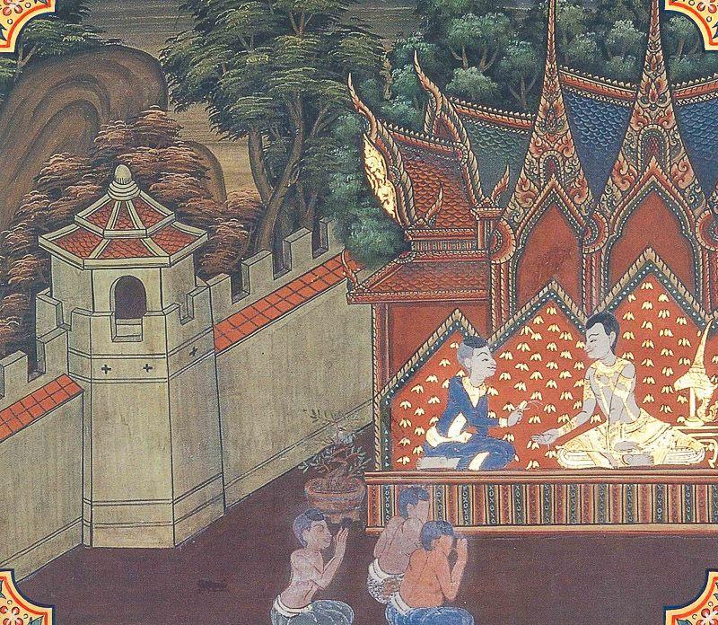 temple painting of Makhadeva Jataka