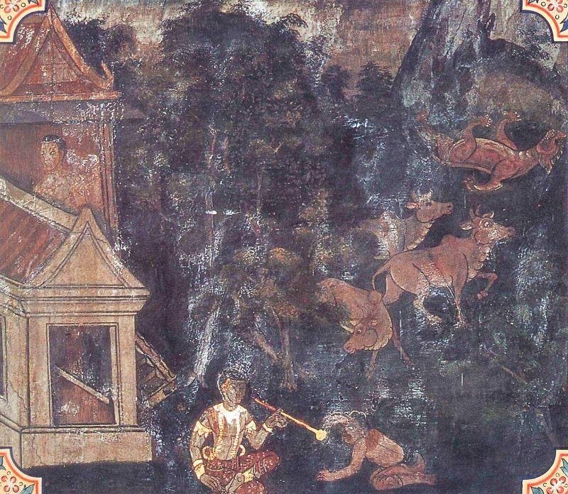 temple painting of Vissasabhojana Jataka