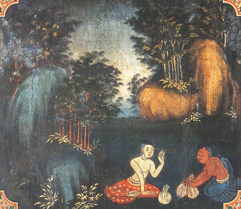 temple painting of Kutavanija Jataka