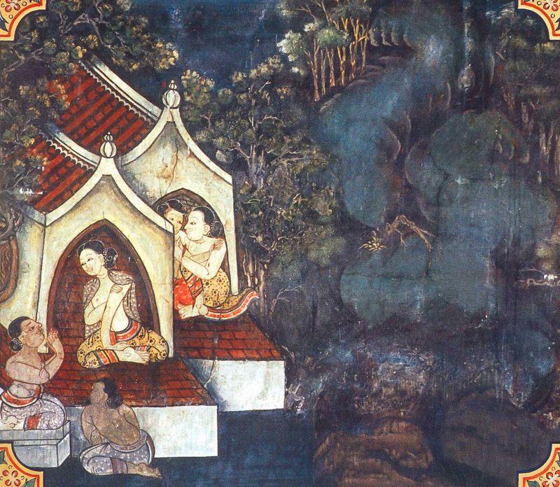 temple painting of Anabhirati Jataka