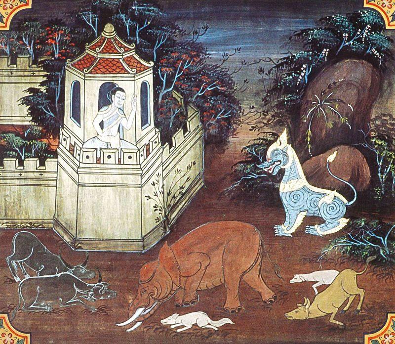 temple painting of Sabbadatha Jataka
