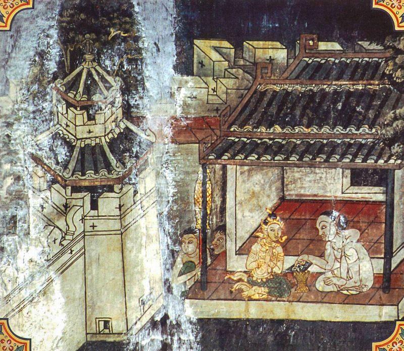 temple painting of Tila-Mutthi Jataka