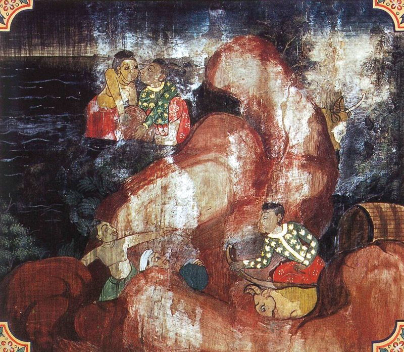 temple painting of Jarudapana Jataka