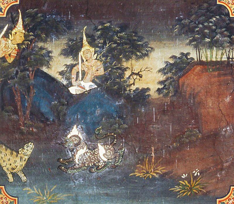temple painting of Vyaggha Jataka