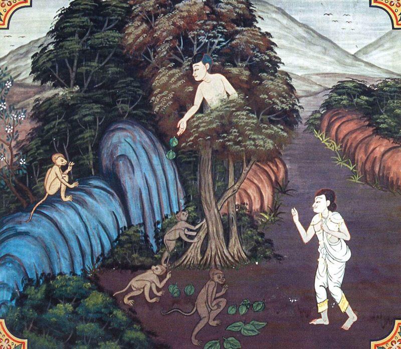temple painting of Puta-Dusaka Jataka