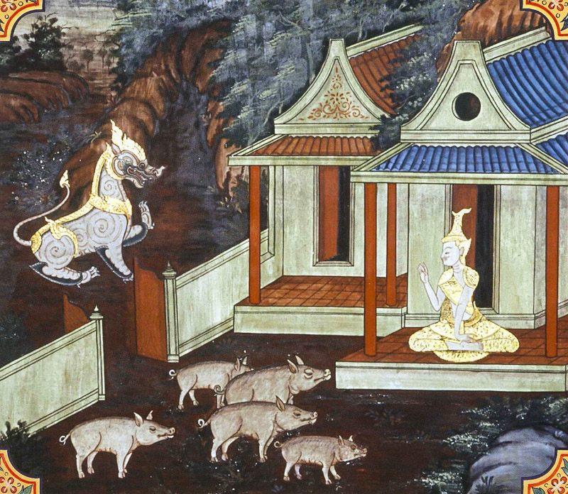 temple painting of Manisukara Jataka