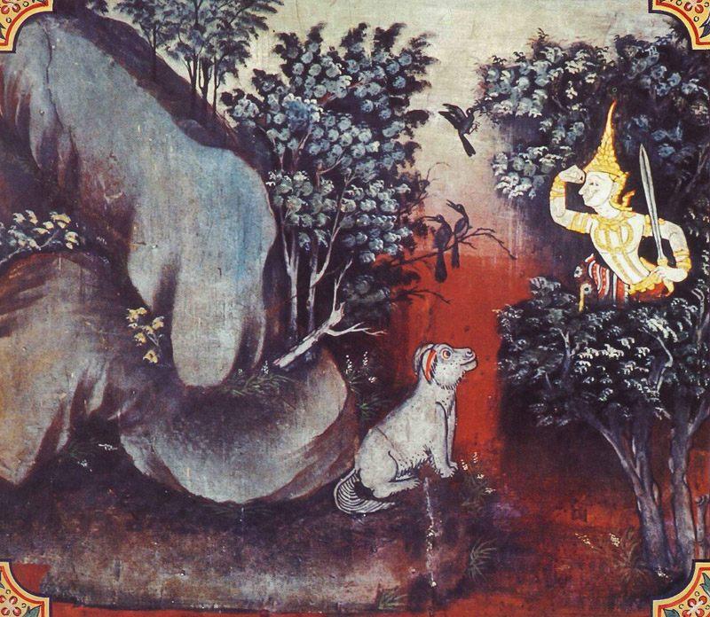 temple painting of Jambu-Khadaka Jataka