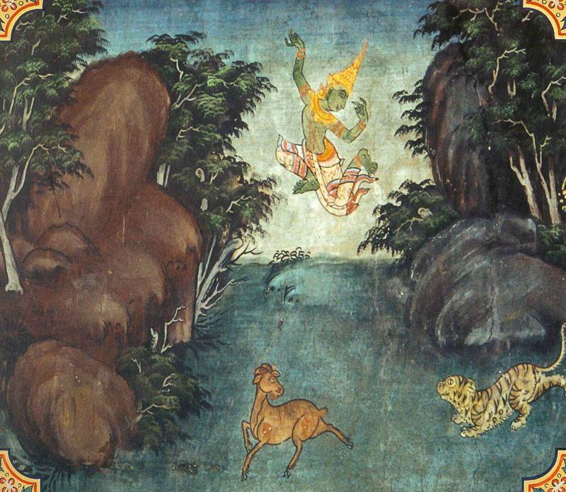 temple painting of Vaka Jataka