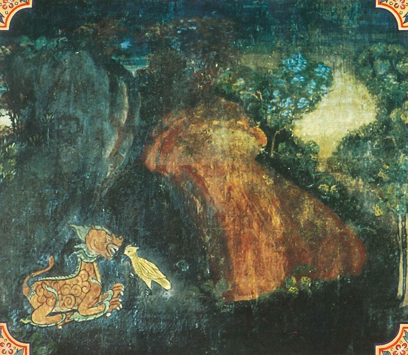 temple painting of Javasakuna Jataka
