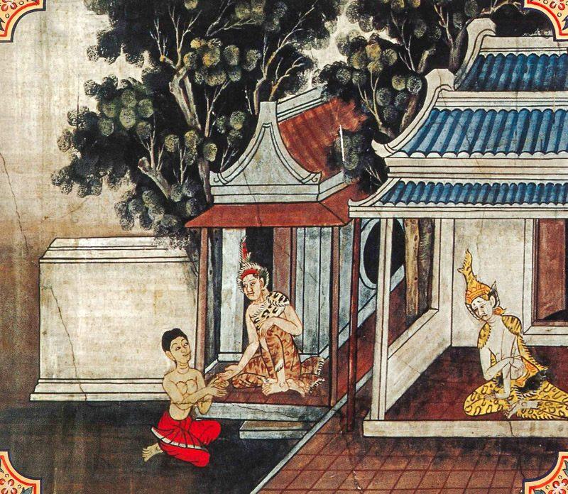 temple painting of Aranna Jataka