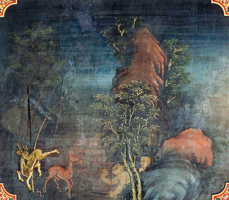 temple painting of Suvannamiga Jataka