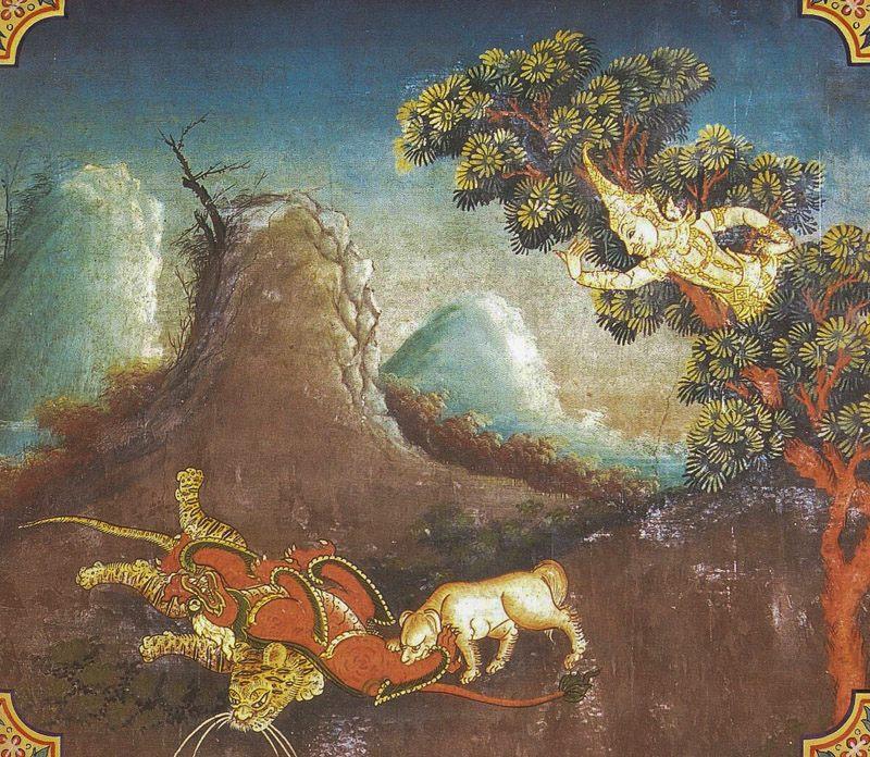 temple painting of Vannaroha Jataka