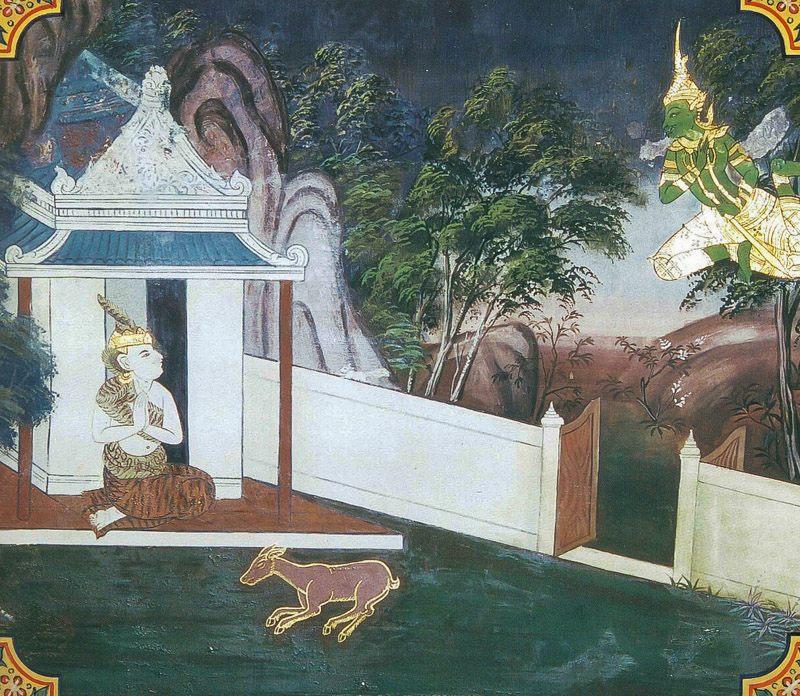 temple painting of Migapotaka Jataka